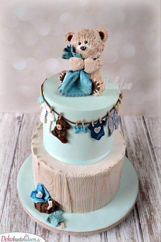 Niedlicher Teddybär - Babyparty Torte Ideen