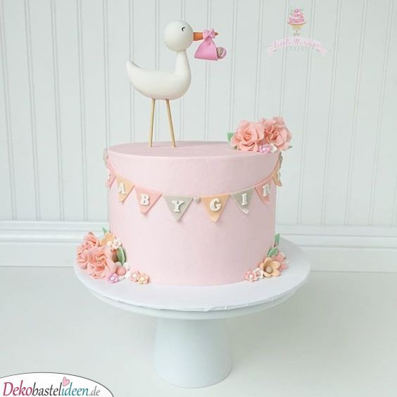 Baby party Torte - Der Storch brings baby