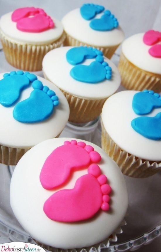 Niedliche Babyfüße - Muffins für Babyparty