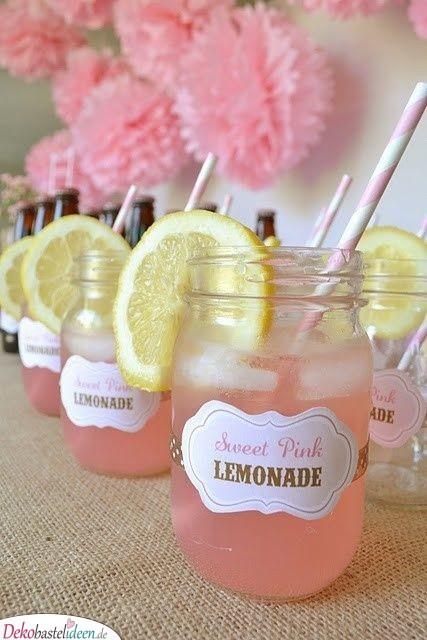 Süße pinke Limonade – Babyparty Getränke