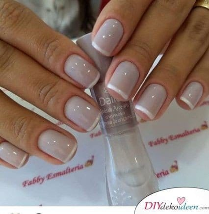 A simple, French manicure for short nails