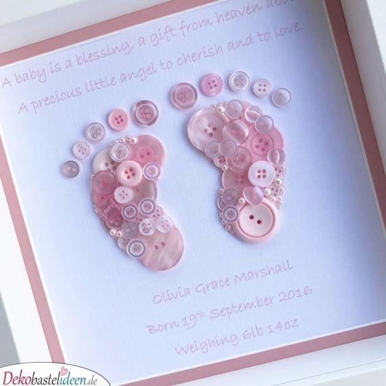 Fußabdrücke aus Knöpfen - Geschenke für Babys