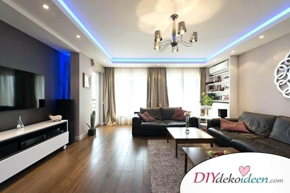 Kronleuchter und Einbauleuchten – Wohnzimmer Beleuchtung mit Klasse