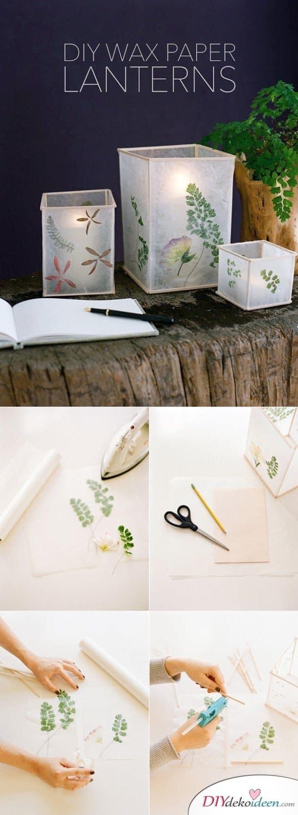 DIY Pergamentpapier-Laternen - kinderleichte Laternen basteln