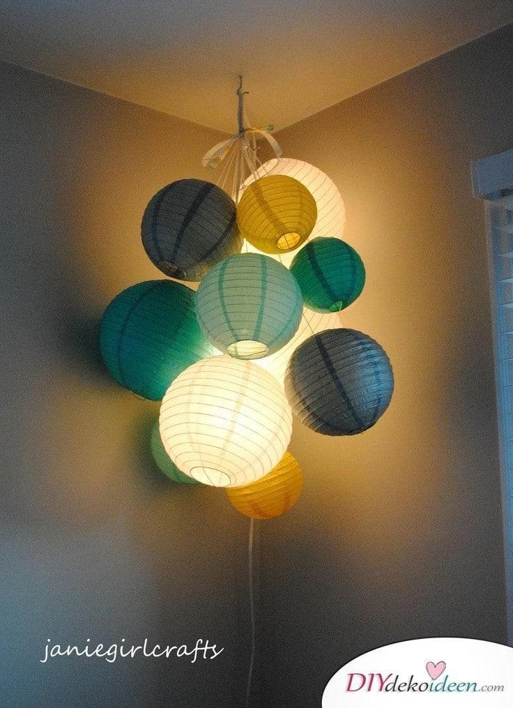 Zimmerdeko aus Lampions - einfache Laterne basteln