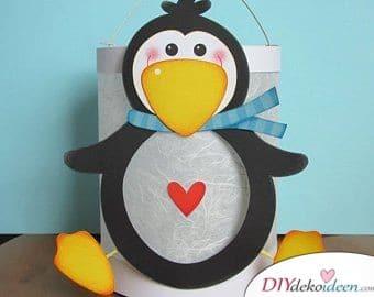Pinguin Lampion basteln – Laternen für Kinder