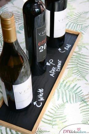 Schiefertafeltablett für Weinflaschen – Geschenke selbermachen