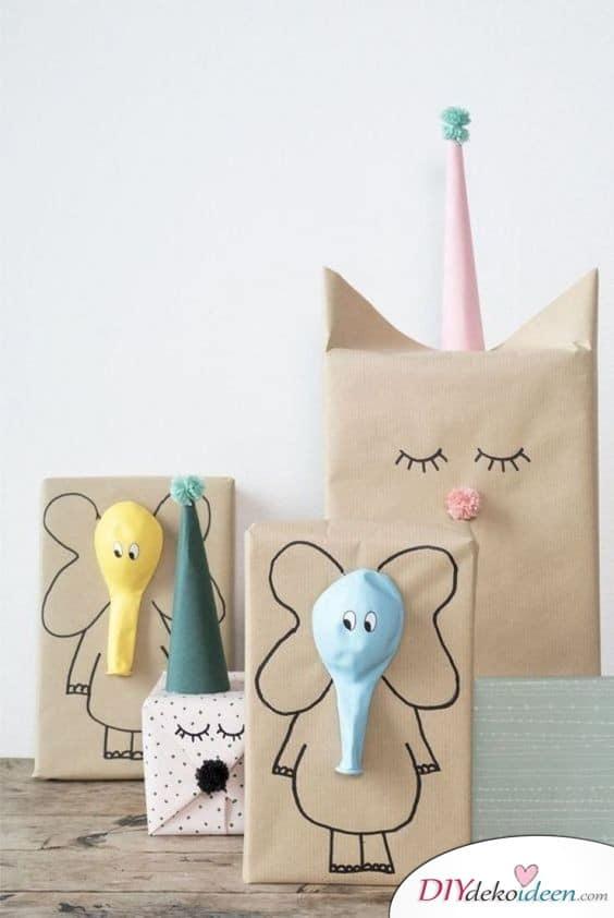 Geschenke schön verpacken - kleine Geschenke für Kinder