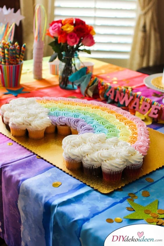 Regenbogen-Cupcakes – Geburtstagskuchen Ideen