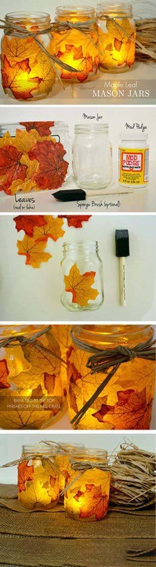 Tolle Windlicht aus Blättern