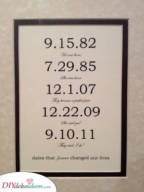 Wichtige Daten die Ihr Leben verändert haben- Geschenke für den Partner