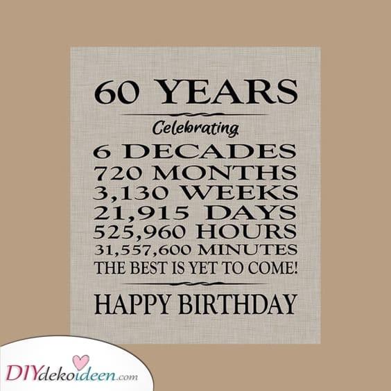 60 Jahre – Geburtstagsgeschenk Ideen