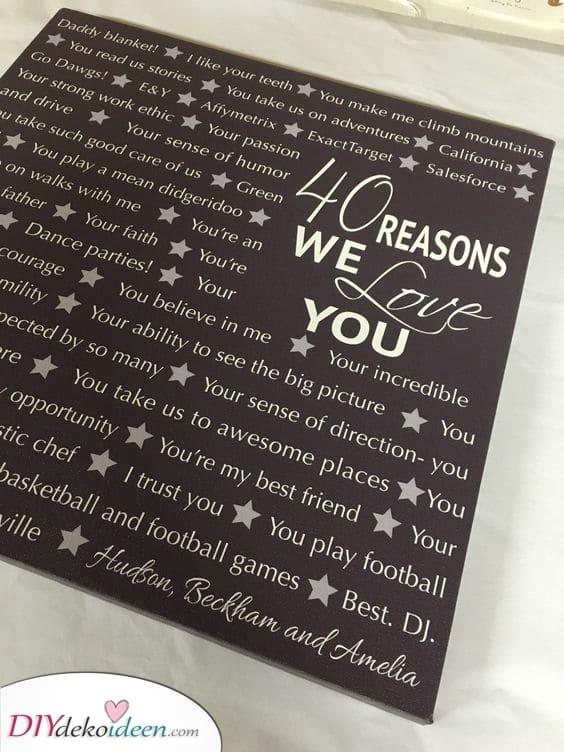 Liste von Gründen - Persönliche Geschenke zum 40. Geburtstag