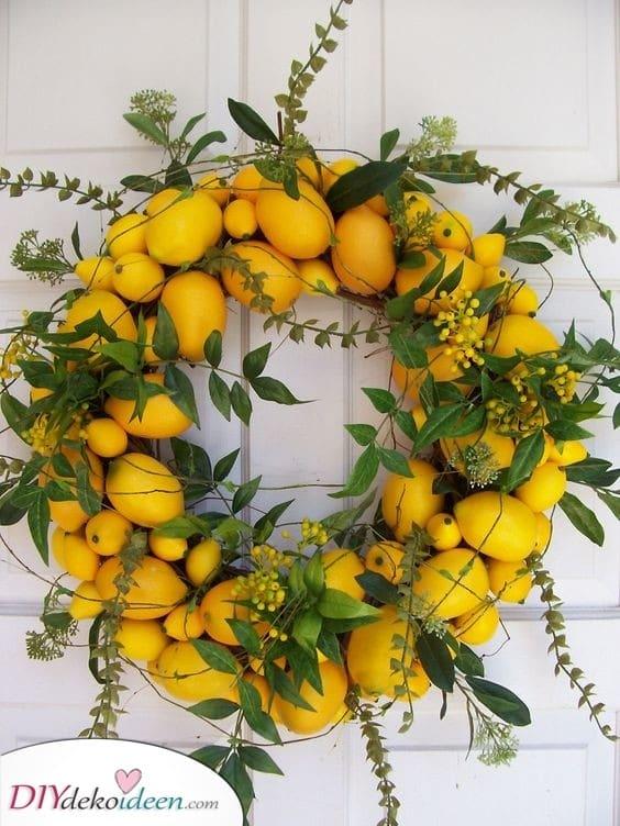 Ein ganzer Zitronenkreis - Citrus Sommer Trükranz Stell sicher, dass Sie Gelb in deinem