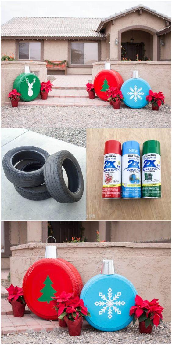 Reifen als Ornamente - Erstaunliche Weihnachtsdekorationen im Freien
