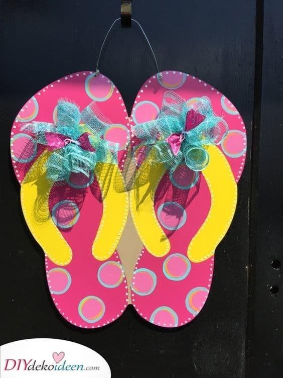 Flip-Flops - Entzückendes Türdekor zum basteln für den Sommer