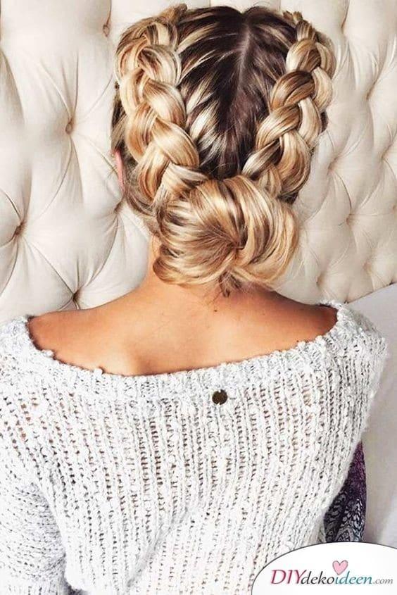 Zöpfe zu einem Brötchen - Elegante Frisuren für den Sommer