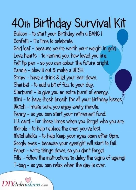 Ein Überlebenskit - lustige Geschenkideen zum 40. Geburtstag