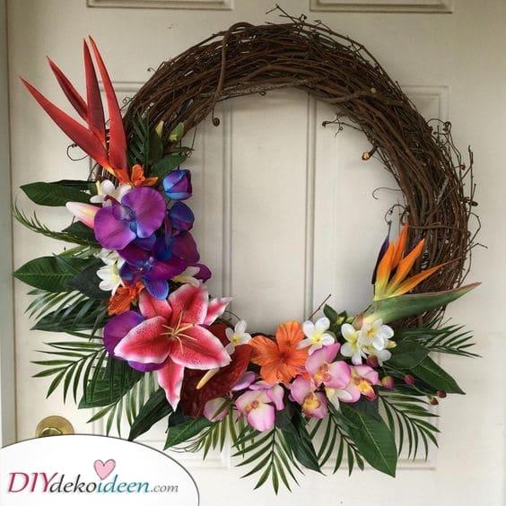 Tropische Blumen - Sommerkränze für Haustüren