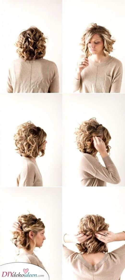 Eine einfache Hochsteckfrisur - Frisuren für lockiges kurzes Haar