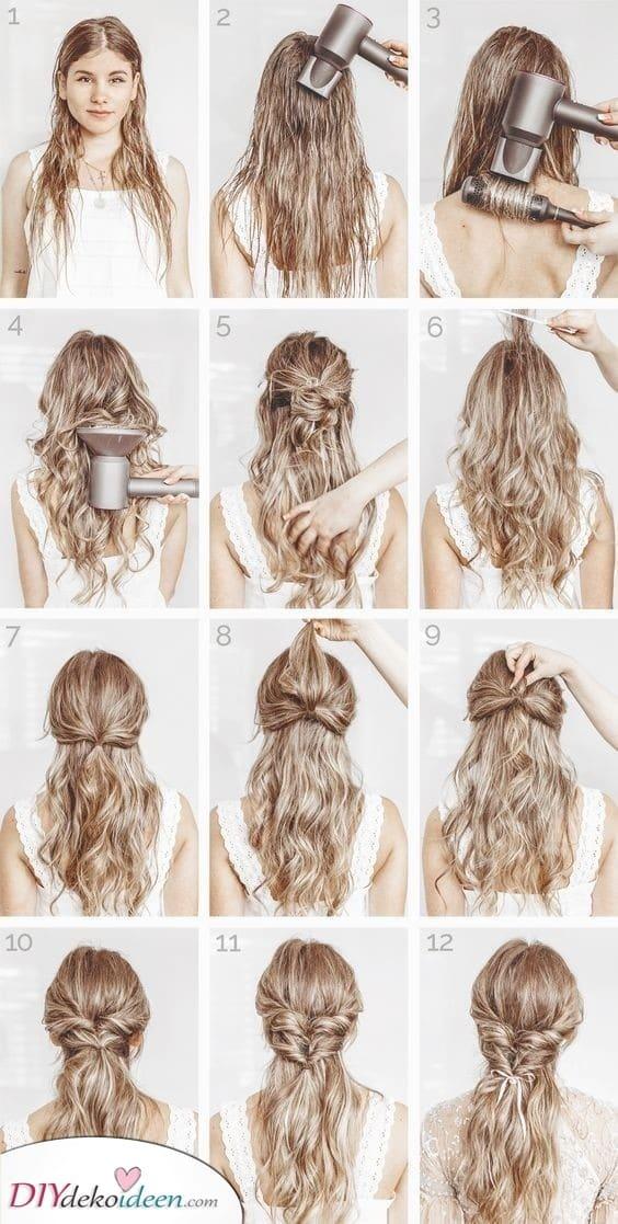 Komplizierte Frisur für lockiges Haar - Glamourös und Schön