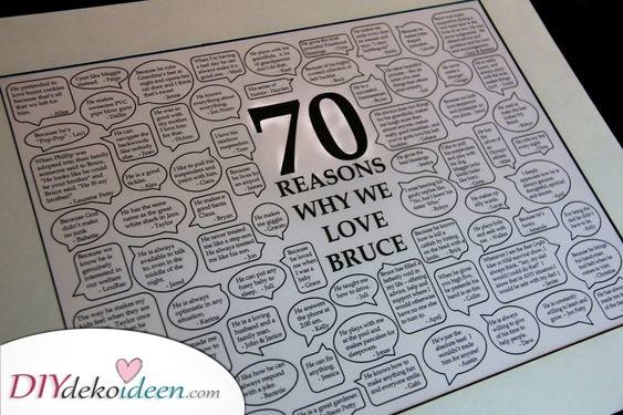 Eine Nachricht von allen - Persönliche Geschenke zum 70. Geburtstag