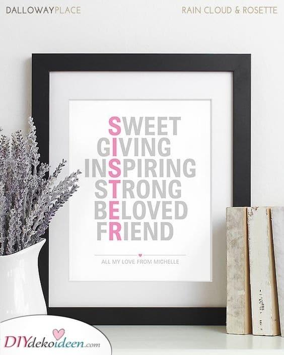 Buchstabiere sie - Einzigartige Geschenke für Schwestern