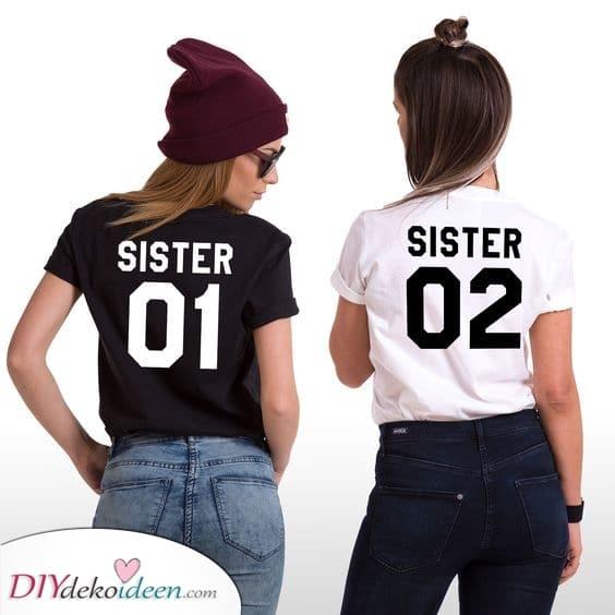 Passende T-Shirts - Schwester Eins und Schwester Zwei