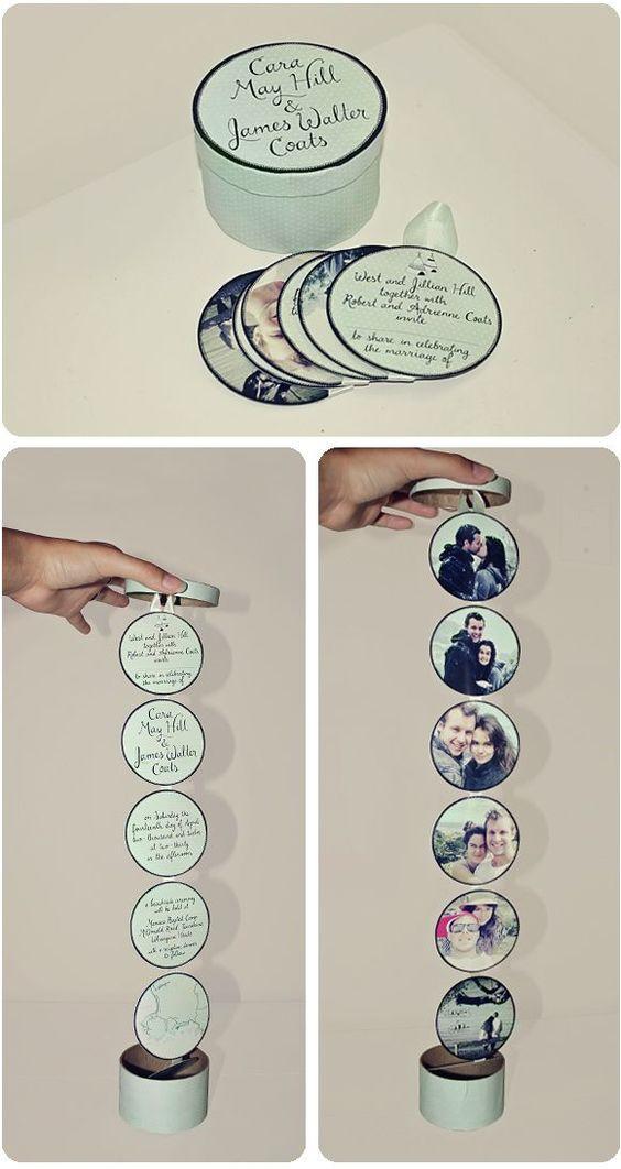 Eine Schachtel mit Fotos an einem Band aufgereiht - Mit Liebe gemacht