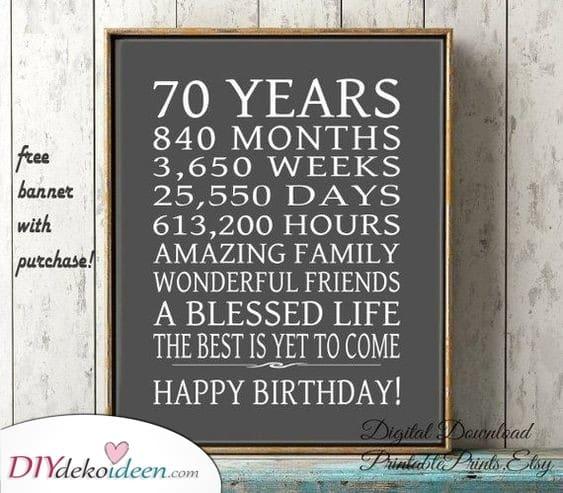 Siebzig Jahre – Geschenke die vom Herzen kommen