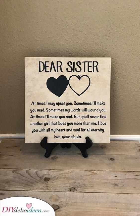 Eine liebevolle Botschaft - Geschenk für die Schwester