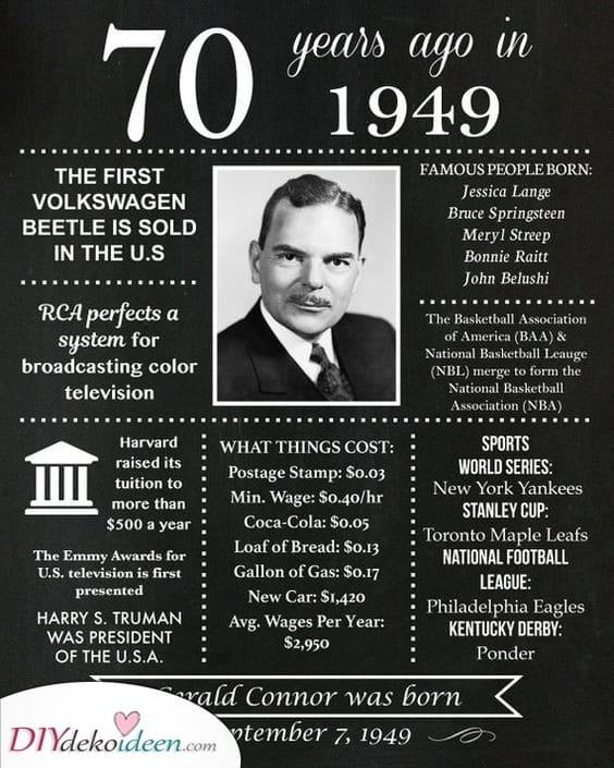 Vor siebzig Jahren – Geschenkideen zum 70 Geburtstag zum selber machen