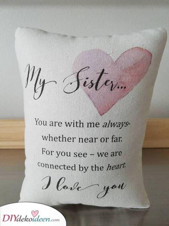 Ein fantastisches Kissen - Geschenkideen für kleine Schwestern