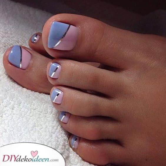 Pink und Blau – Fußnägel lackieren leicht gemacht