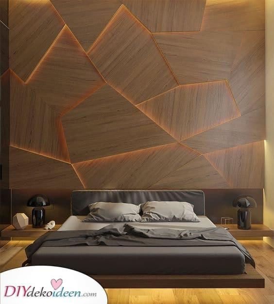 Eine hinterleuchtete Wand – Dekorative Schlafzimmer Leuchte