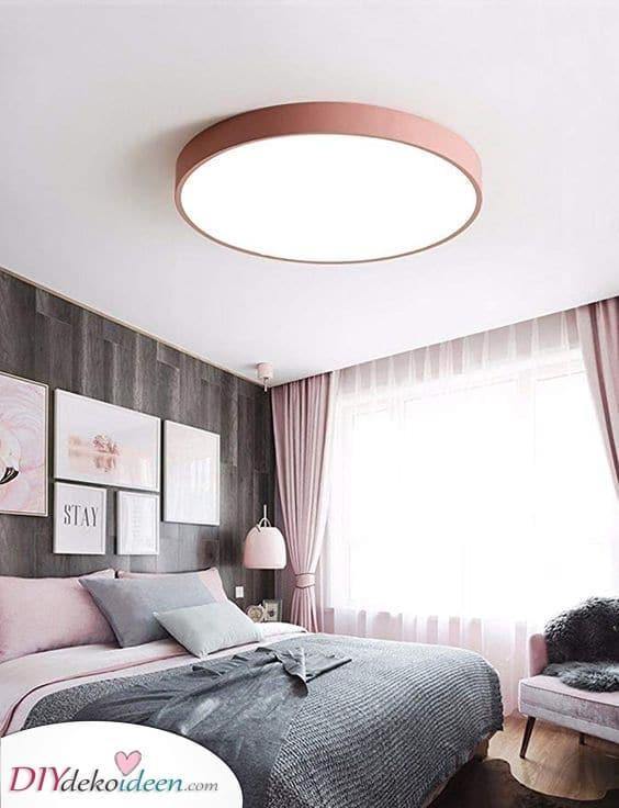 Eine runde Deckenleuchte – Raffinierte und moderne Schlafzimmer Leuchte