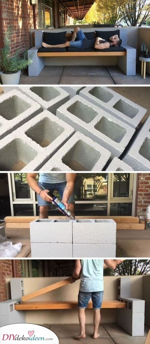 Betonblockbank – Balkonmöbel selber bauen