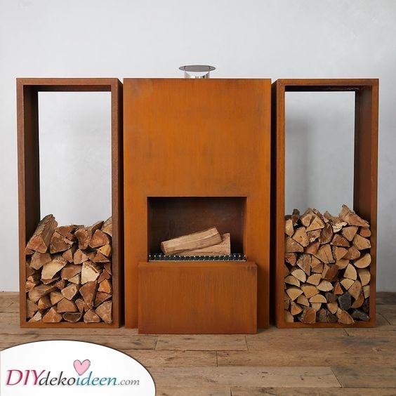 Geometrisch und minimalistisch – Feuerstelle mit Sitzgelegenheit selber bauen