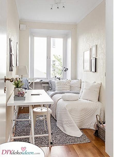 Ein reines Weiß – Ideen für kleine Schlafzimmer