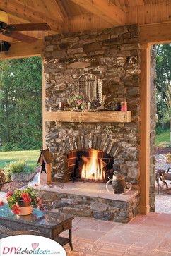 Feuerstelle mit Sitzgelegenheit selber bauen – Hinterhof-Kamin Ideen