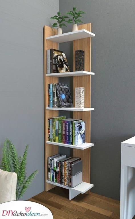 Eingebaut in die Ecke – Bücherregal Ideen