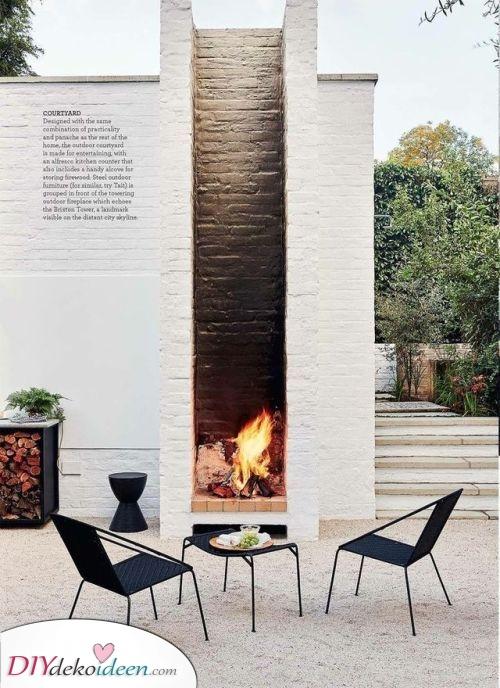 Ein Teil der Wand – Feuerstelle im Garten selber bauen
