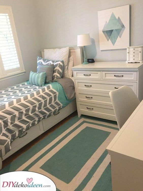 Geometrisch und modern – Raumlösung kleines Schlafzimmer