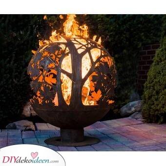 Ein Feuerball – Feuerschale im Garten