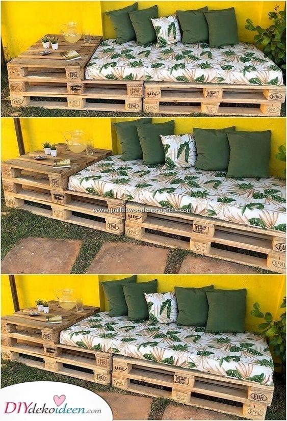 Holzpalettensofa – DIY Gartenbänke