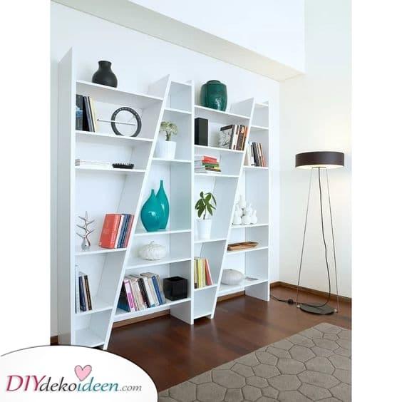 Ein diagonales Design – Moderne Bücherregale