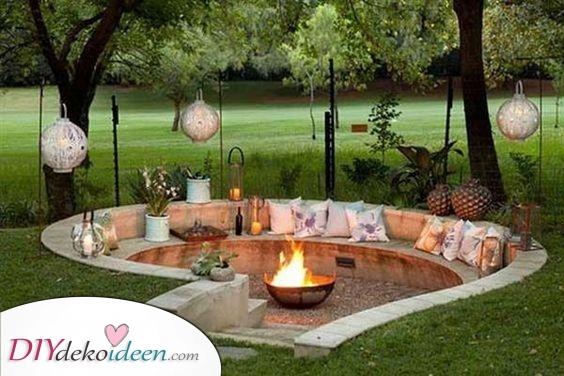 Ein Raum zum Entspannen – Feuerstelle mit Sitzgelegenheit selber bauen