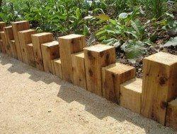 Holzblöcke – Kreative und moderne Beeteinfassungs Ideen