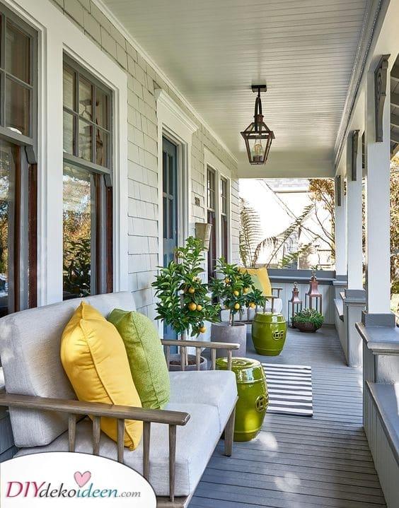 Grün und Gelb – Terrassengestaltung Ideen
