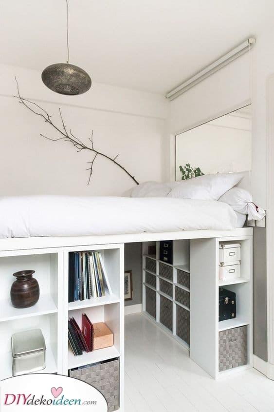 Mit Boxen – Kleine Schlafzimmerdekorationsideen mit kleinem Budget